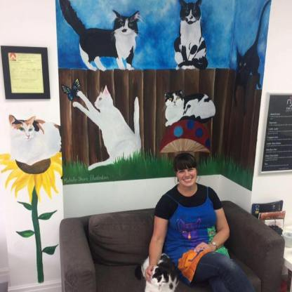 My wall mural painted for Cat-a-Tonic cat cafe in Oldham.